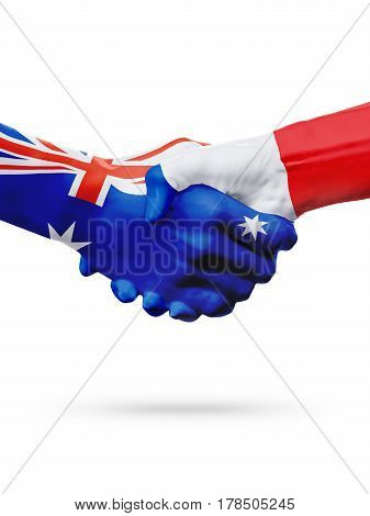 Flags Australia France countries handshake cooperation partnership friendship or sports national team competition concept isolated white