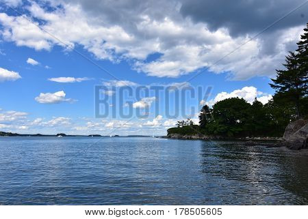 Beautiful look at the ocean on a calm day on Casco Bay in Maine.