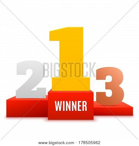 1st place design. Winners pedestal isolated on white background. Red podium with gold number. The award for first place. Vector illustration.