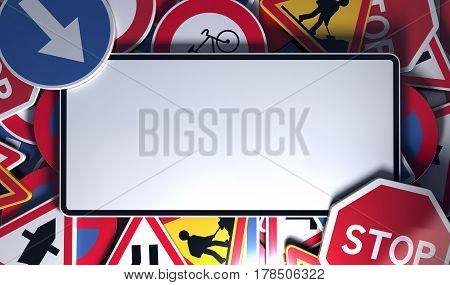 Front view of an empty french traffic road sign at the top of other roadsigns. Concept image for background 3D illustration