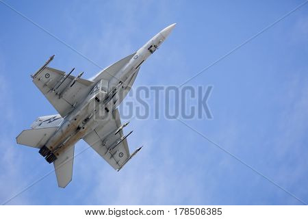 MELBOURNE, AUSTRALIA - MARCH 26: An Royal Australian Air Force FA18F Super Hornet performs in a public display above Melbourne on March 26, 2017