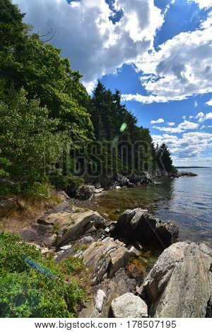 A perfect summer day on an island in Casco Bay Maine.