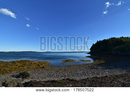 Gorgeous scenic view of Casco Bay in Maine.