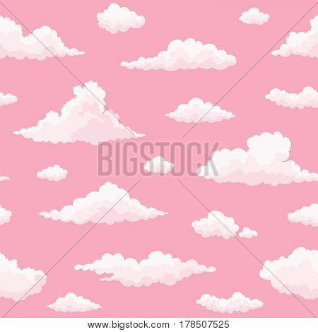 Cloud vector seamless pattern. White pink clouds on pink sunset sky. Repeat print.