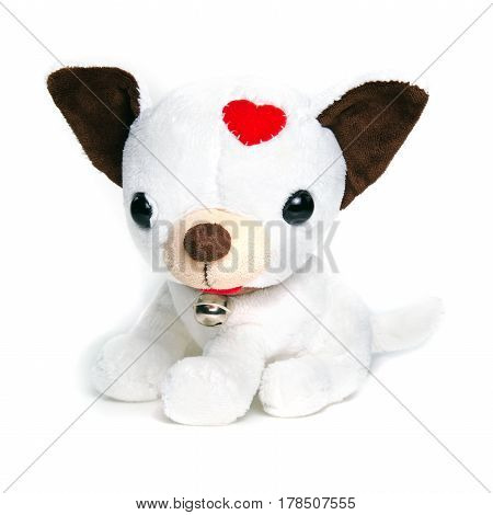 White puppy (dog) doll isolated on white with ring bell collar for decoration and graphic usage