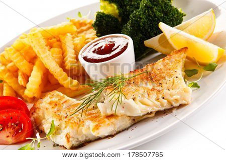 Fish dish - roast cod with french fries