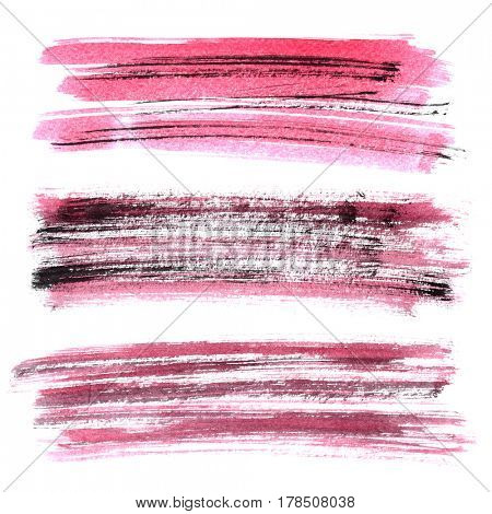 Set of red grunge brush strokes isolated on the white background. Elements for your design