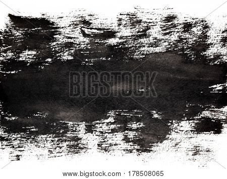 Bold black stripe of brush strokes. Grunge abstract background. Space for your own text