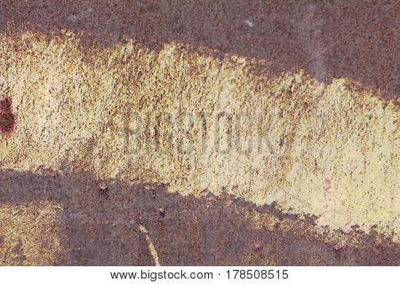 metallic old wall. garage door. texture. rust red and yellow with shades of pink and vinous. grunge