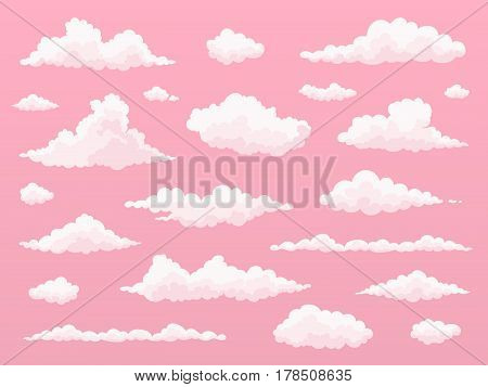 Cartoon cloud set. Pink clouds. Pink sunset dawn cloud sky. Flat vector illustration.