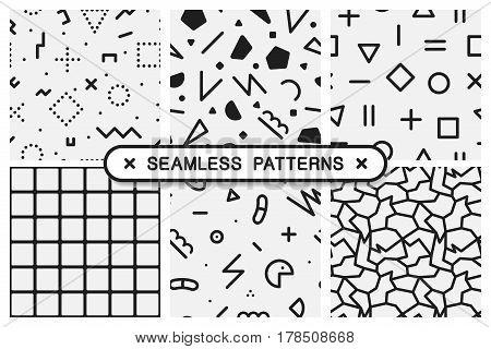Vector seamless patterns set - memphis design. Abstract geometric backgrounds.