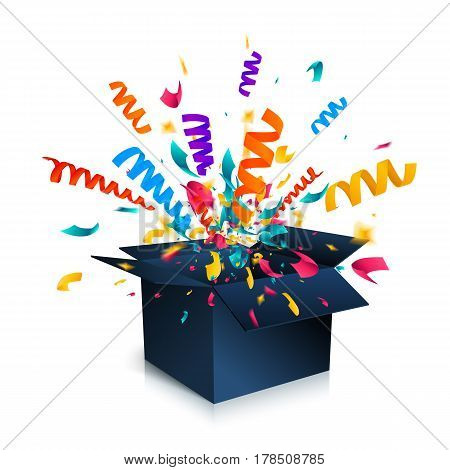 Gift box isolated on white background with confetti explosion. An open empty black box. Surprise box icon concept. Vector illustration