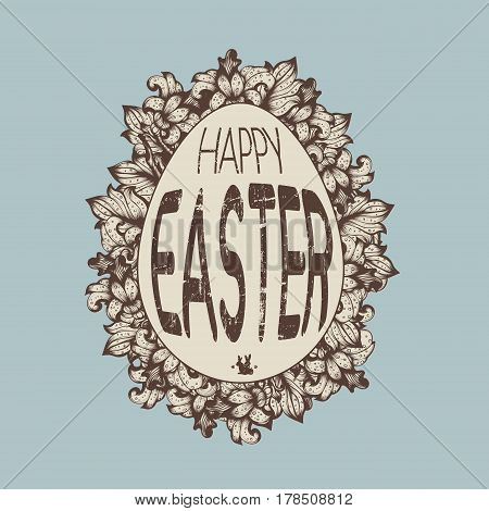 Hand Drawn Grunge Sketch Vintage Floral Vector Easter Egg