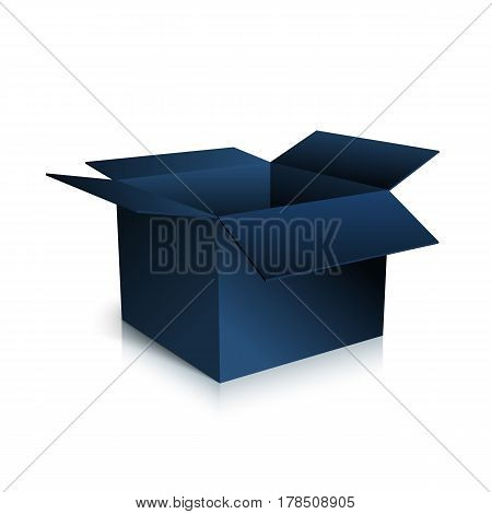 Black box isolated on white background. An open empty box. Bright Gift Packaging. Vector illustration