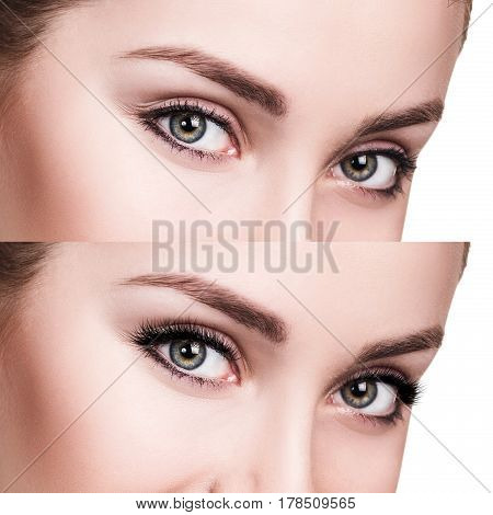 Comparison portrait of female eyes before and after eyelash extension.
