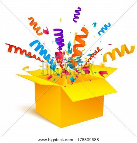 Yellow box isolated on white background. An open empty box. Bright Gift Packaging. Vector illustration