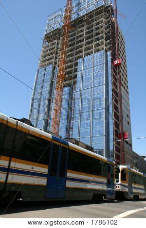 Monorail Train & Skyscraper