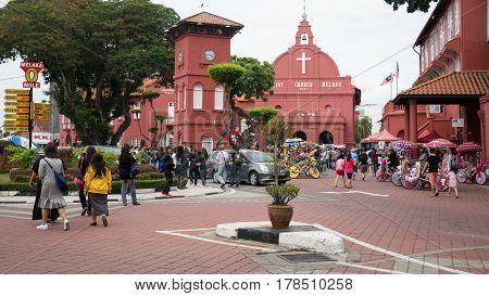 Malacca, Malaysia - Mar 22: Christ Church & Dutch Square And Tourism In Malacca, Malaysia. Malacca C