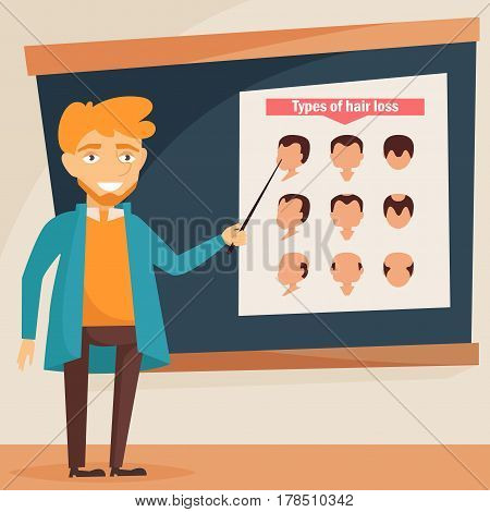 Man stands near the chart. Baldness. Isolated art on white background. Vector. Cartoon. Flat. For websites, brochures, magazines Medicine