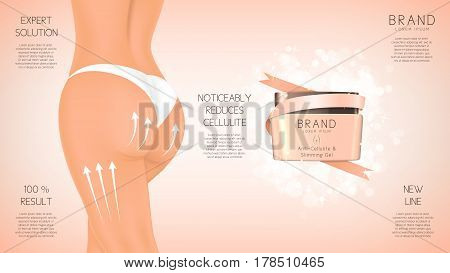 Design of web banner with anti-cellulite cream in jar. Concept of cosmetic cream. Vector illustration. Advertising of means for care of body skin for women.