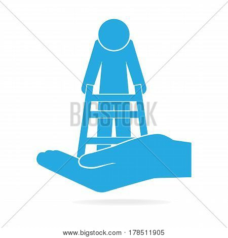 Elderly man and walker in hand icon care or protection concept