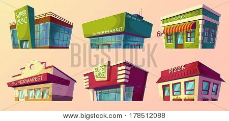 Set of vector cartoon illustrations, icons retro and modern supermarket, coffee shop, pizzeria