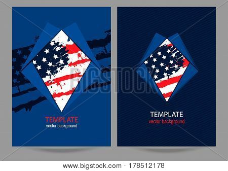 Cover design with the American flag. Business template with the US flag. Grunge style. Abstract background. EPS file is layered.