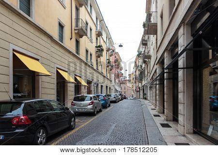 Via Leoncino Street Of The Old City Of Verona