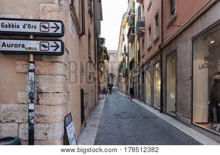 Via Santa Eufemia Streets Of The Old City Of Verona