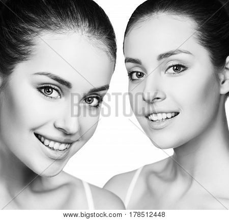 Woman's beauty faces with healthy fresh skin. Spa treatment concept