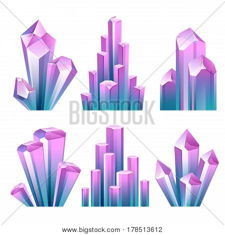 Colorful assorted crystals set. Jewels treasure diamonds vector illustration. Good for game design.