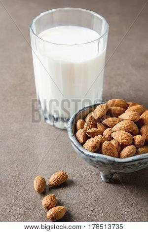 Dairy Alternative Milk. Almond Milk In A Glass Bottle And Fresh