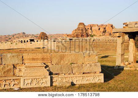 Hampi, India - 12 January 2015: Malayavanta Raghunatha Temple near Hampi on India