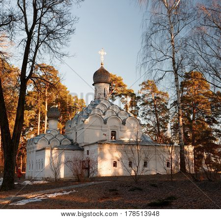 Archangel Michael Church in the museum estate Arkhangelskoye near Moscow. Classical Russian church in the spring at sunset