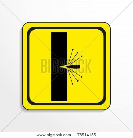 Symbol. Testing of weapons. Vector icon. Black-and-white object on a yellow background.
