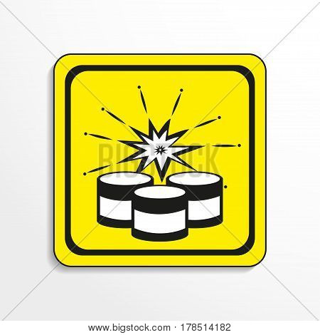 Symbol. Explosives. Vector icon. Black-and-white object on a yellow background.