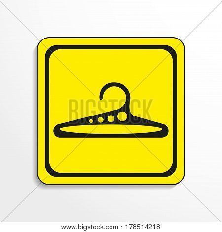 Hanger shoulders. Vector icon. Black-and-white object on a yellow background.