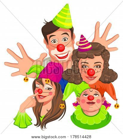 Family of clowns. Dad, Mom, Daughter, Son. Isolated on white vector cartoon illustration