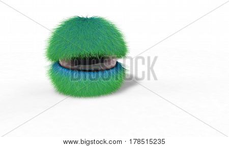 Background Of Double Color Hairy Eye Model, 3D Render