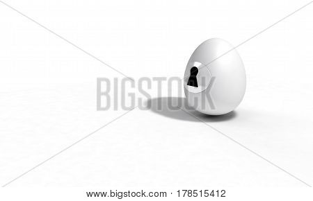 Egg And Lock Concept,background 3D Render