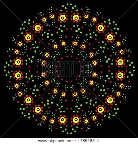 Round flower frame on the black background. Vector fashion ornament with red flower for printing on fabric traditional folk floral decoration.