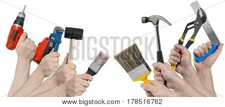 Banner Image Of Hands Holding Building Tools