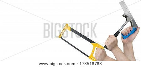 Hands Holding Hacksaw, Hammer, And Steel L-shaped Ruler
