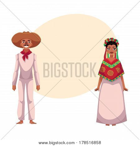 Mexican man and woman in traditional national clothes, sombrero, head wreath, poncho, cartoon vector illustration with place for text. Mexican couple, man and woman, in national costumes