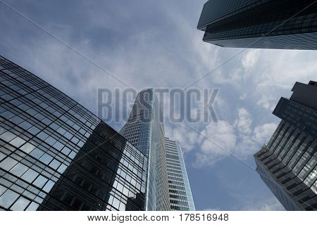 Skyscrapers With Glass Facade. Modern Buildings In Paris La Defence. Concepts Of Economics, Financia