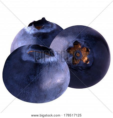 Isolated blueberries. Blueberries isolated on white background as package design element. Healthy eating.