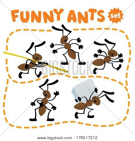 Children illustration set of funny ants, who carry the straw, standing, waving by hand, pulling a sugar cube and running
