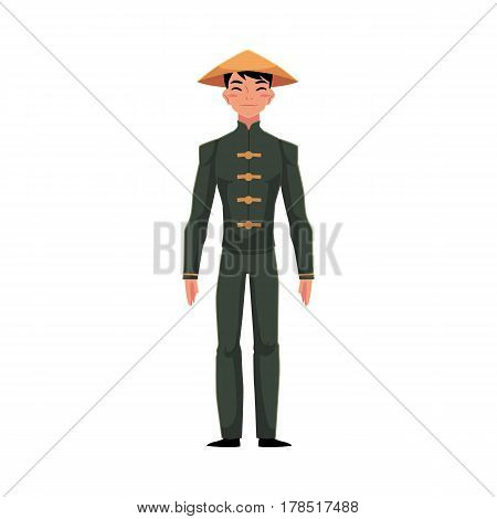 Chinese man in traditional national costume of buttoned tunic, pants in conical hat, cartoon vector illustration isolated on white background. Man from China in Chinese national clothes, costume
