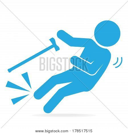 Elderly with stick and slip injury person injury symbol illustration