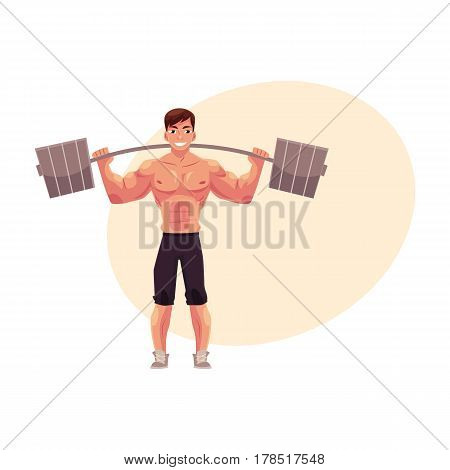 Man bodybuilder, weightlifter working out, training with barbell, cartoon vector illustration with place for text. Front view full length portrait of man bodybuilder standing with barbell